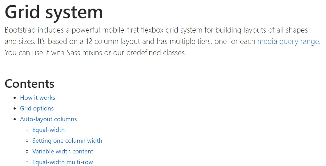 Bootstrap grid  main documentation