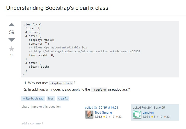 Recognizing Bootstrap's clearfix class