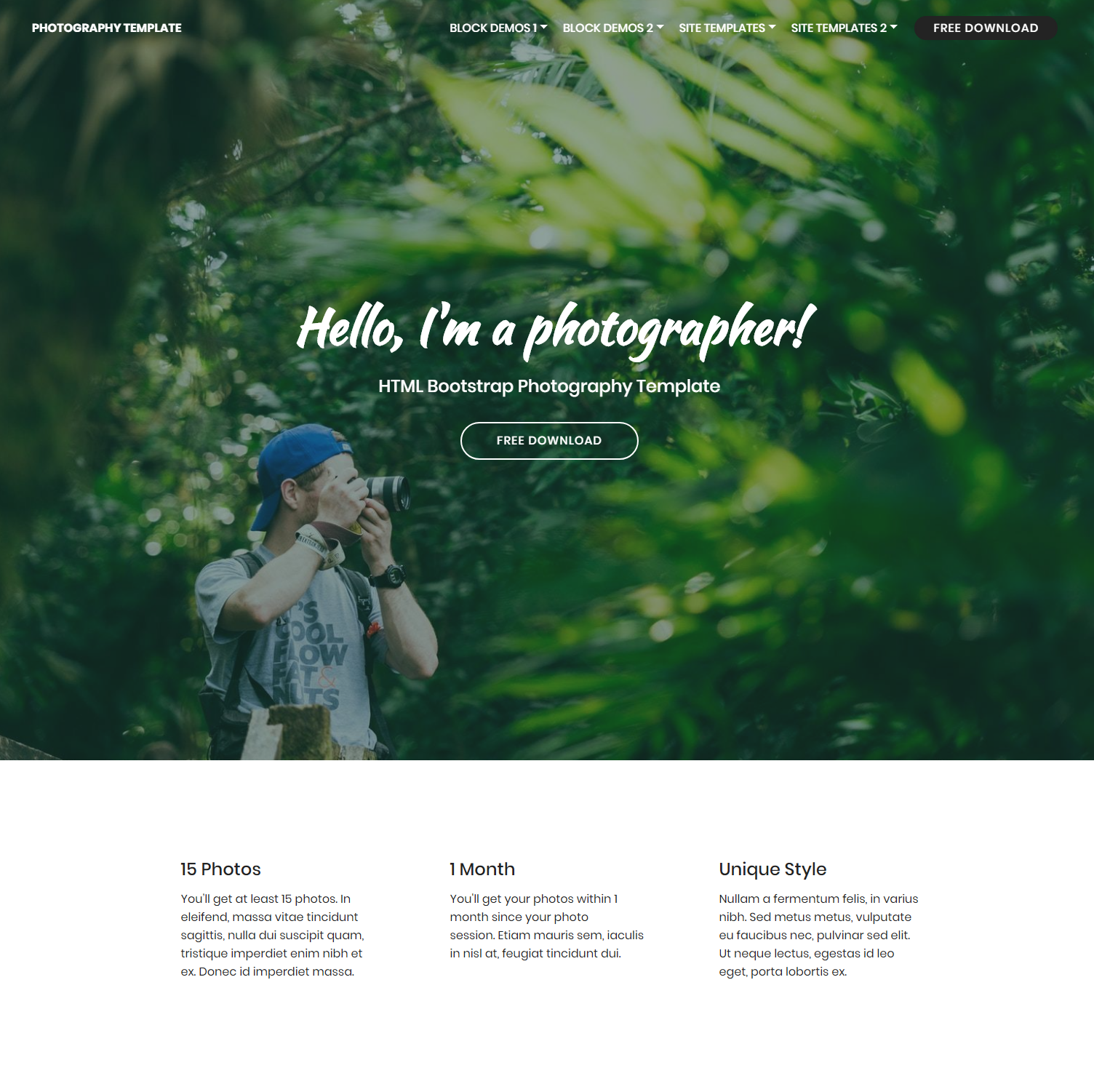 Free Download Bootstrap Photography Templates