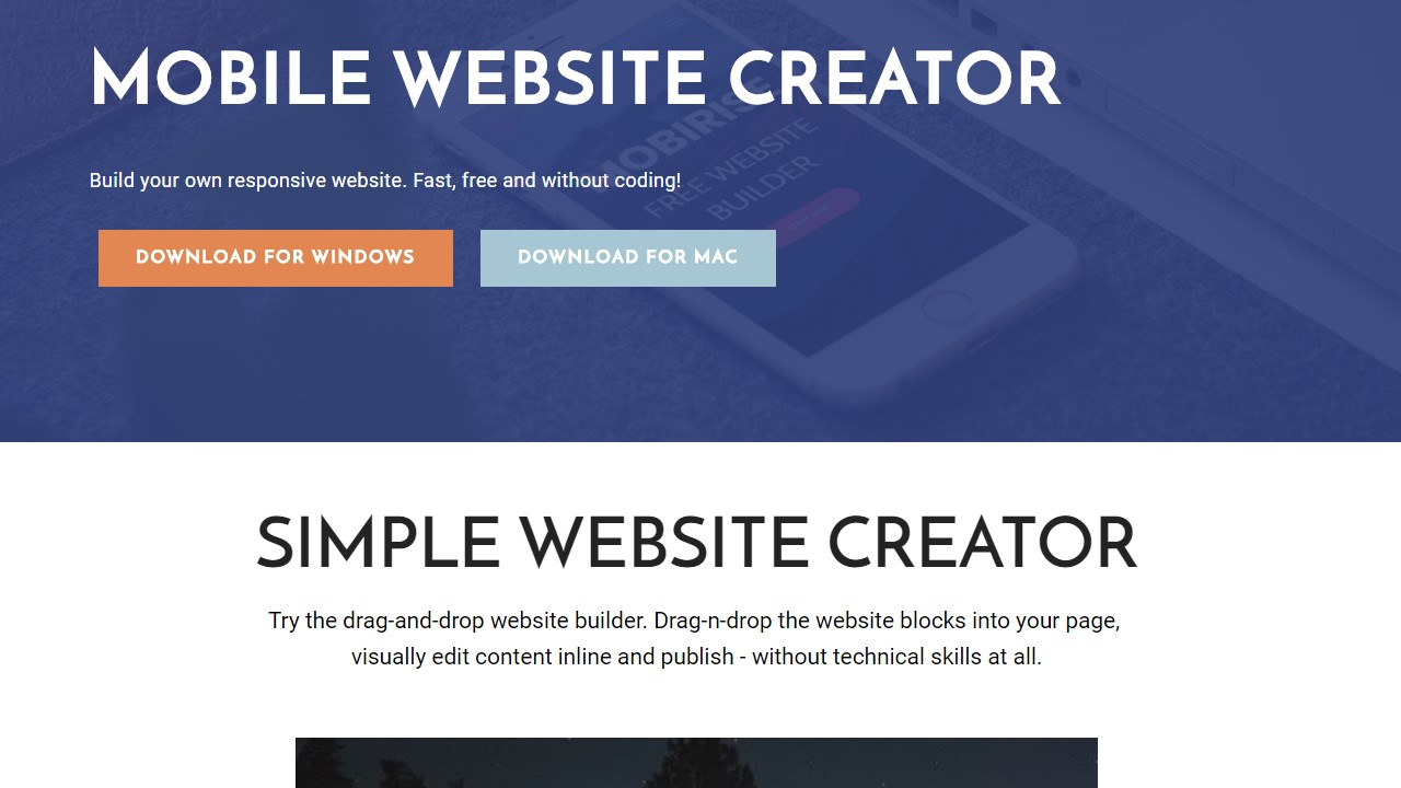 Free Mobile Website Creator Software Template