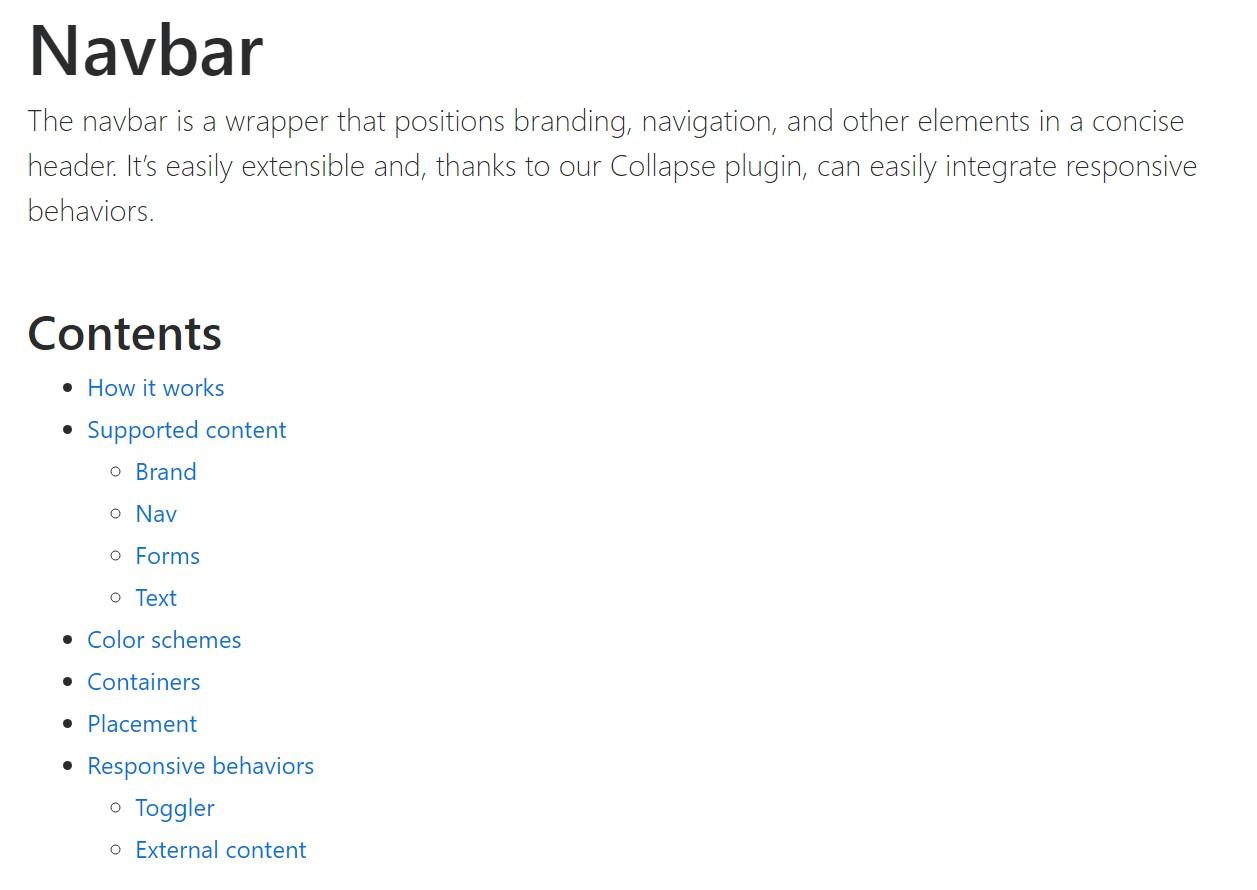 Bootstrap Navbar official  information