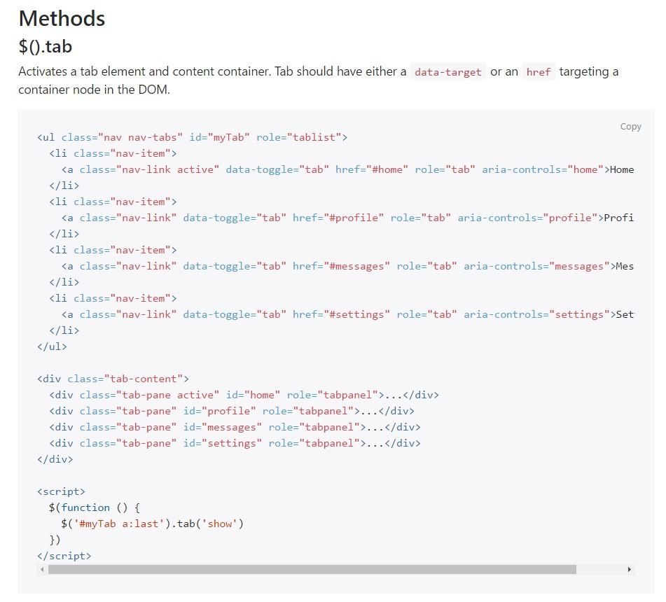 Bootstrap Nav-tabs: formal  information