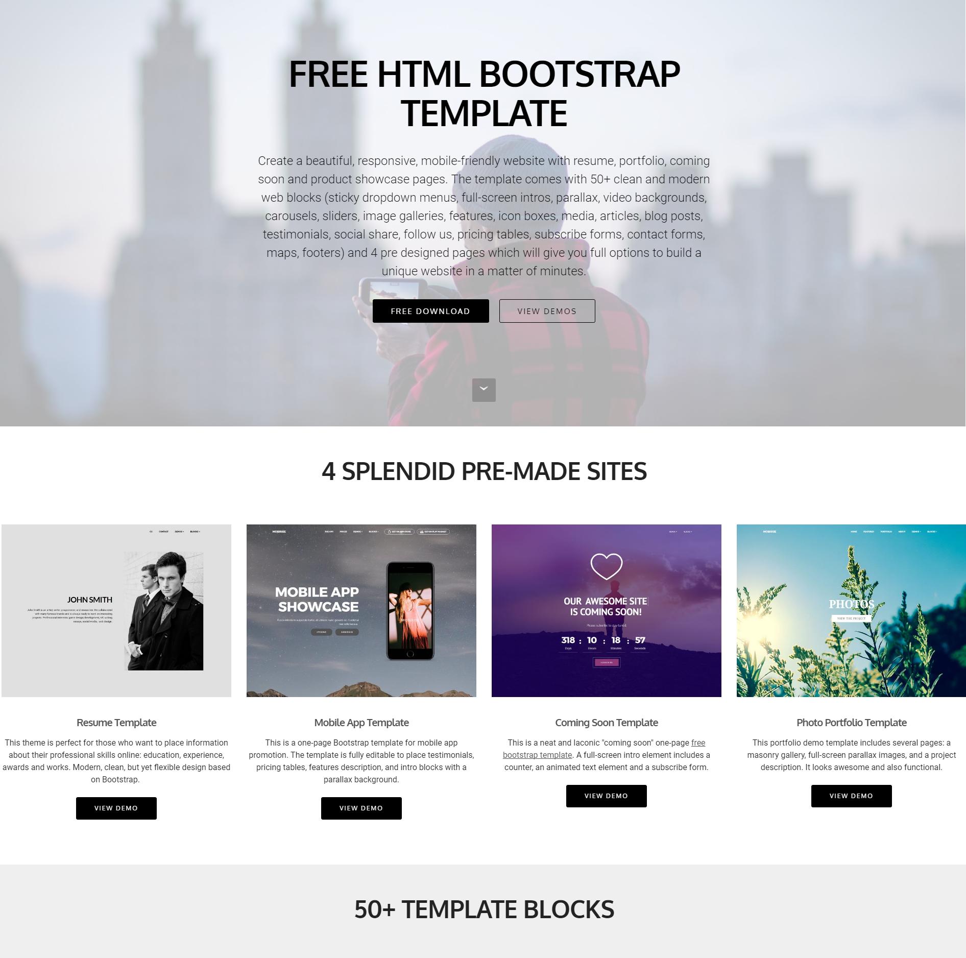 Free Bootstrap 4 Blocks Templates