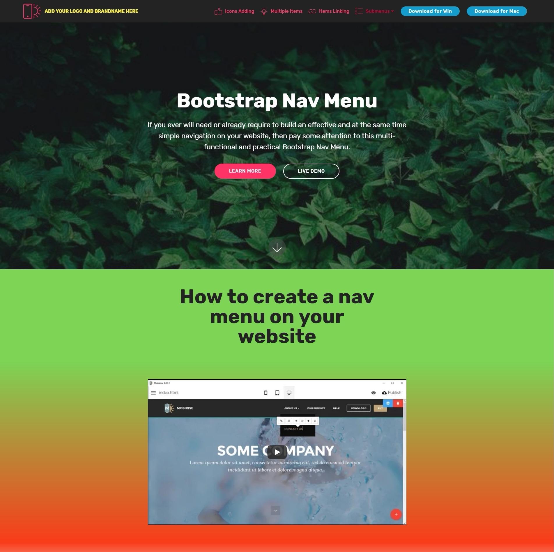 Bootstrap Nav Menu